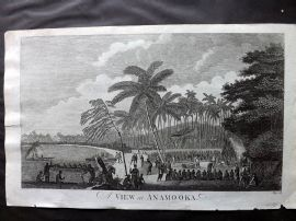 Cook, Anderson, Hogg 1784 Antique Print. A View at Anamooka